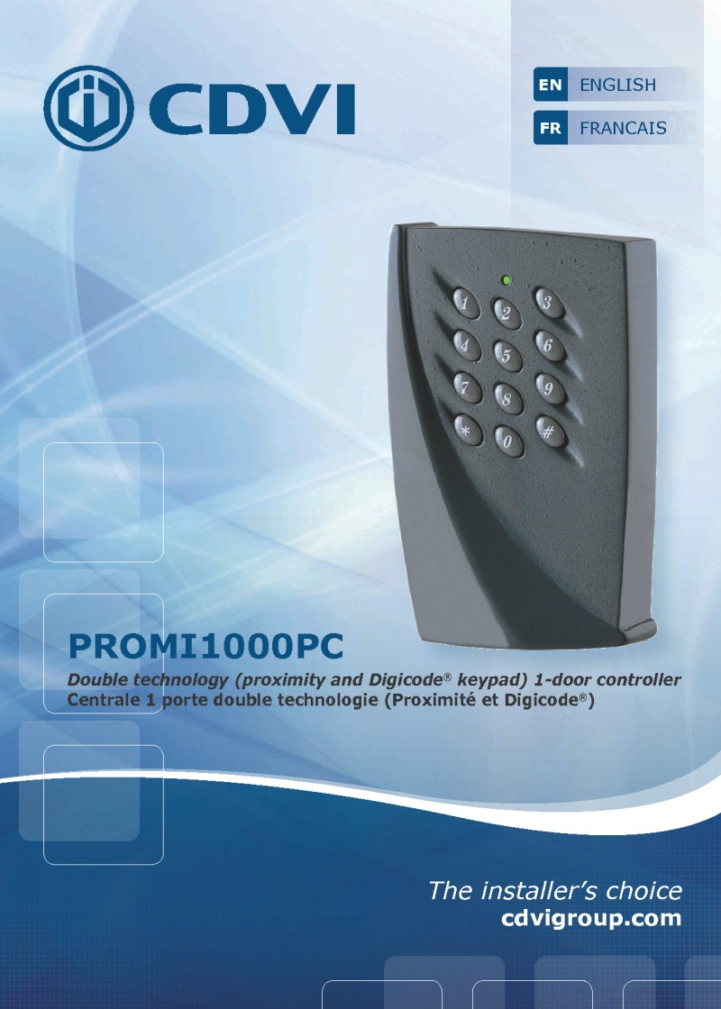 CDVi one door controller Instruction manual for Art.PROMI1000PC